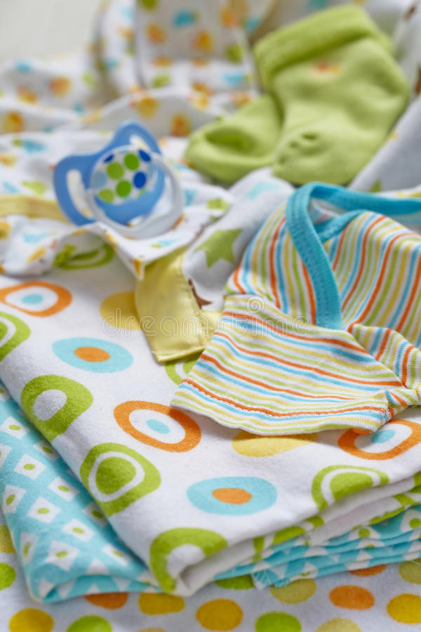 Layette for newborn baby boy stock photo