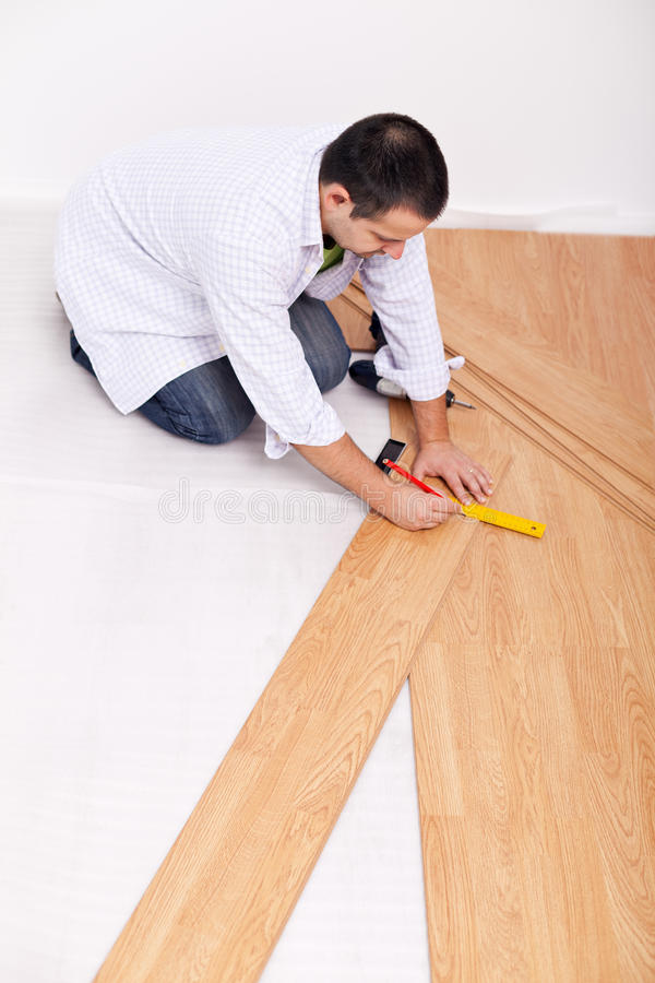 Laying Laminate Flooring Royalty Free Stock Photography
