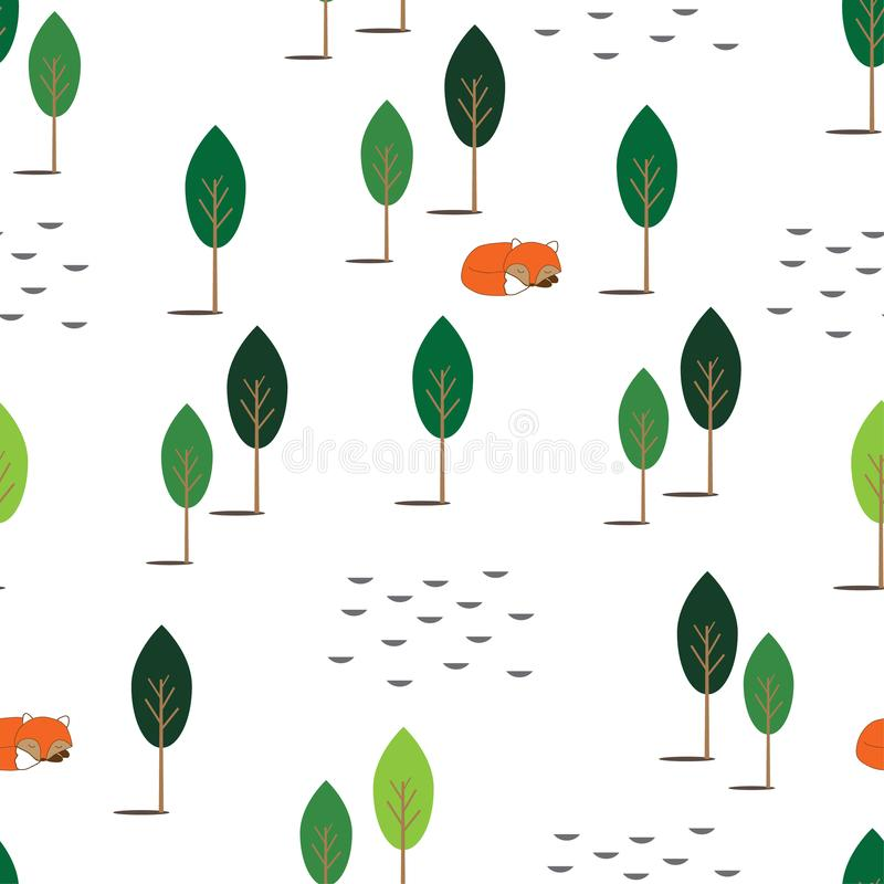 Laying red fox in the forest semless pattern on white background.Textile texture for bedclothes. Vector illustration. Laying red fox in the forest semless vector illustration