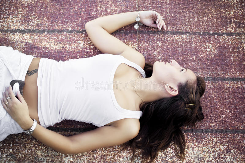 Laying Woman Royalty Free Stock Images