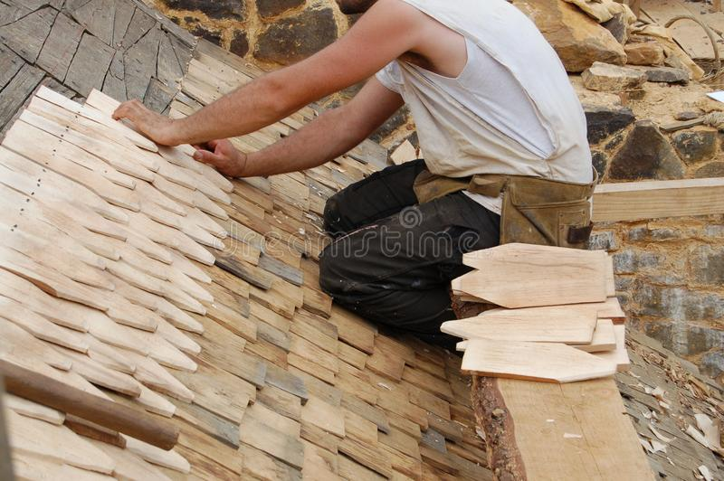 Download Laying wooden roof tiles stock image. Image of construction - 3000597