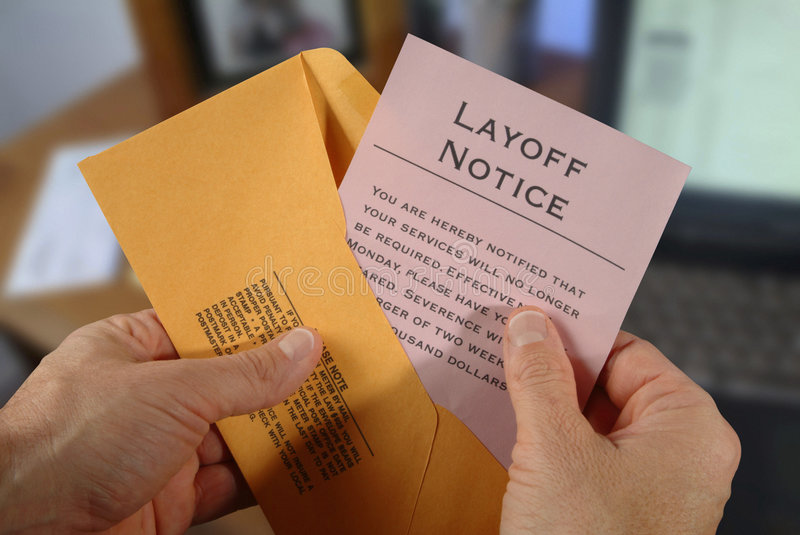 Layoff notice stock images