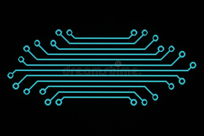Layout. Copper conductors in electronic circuits to create electrical connections stock images