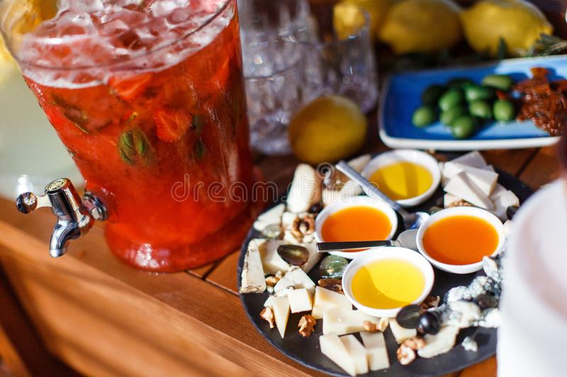 Layout appetizers on the table royalty free stock photography
