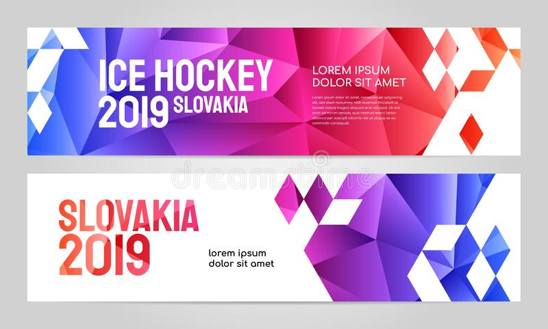 Layout banner template design for sport event 2019. Layout banner template design for sport event, tournament, championship or ice hockey. Slovakia 2019 royalty free illustration