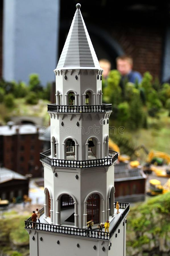 Layout of the bell tower macro shot. Collective image of cities and regions of the Russian Federation, made in miniature. National show-museum `Grand layout stock photos