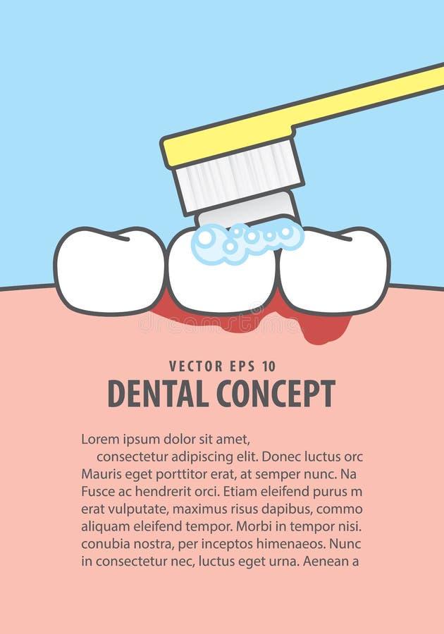 Layout Bleeding when brushing illustration vector on blue background. Dental concept. stock illustration
