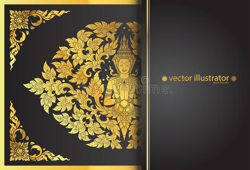 Layout buddha and flower line thai tradition stock illustration