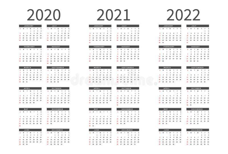 Layout calendario semplice del modello per 2020, 2021 e 2022 anni La settimana comincia a partire da domenica illustrazione di stock
