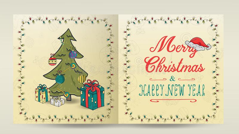 Layout of 5 Christmas and new year cards for decoration print design in the style of childrens Doodle in a frame of garlands. Layout of Christmas and new year royalty free illustration