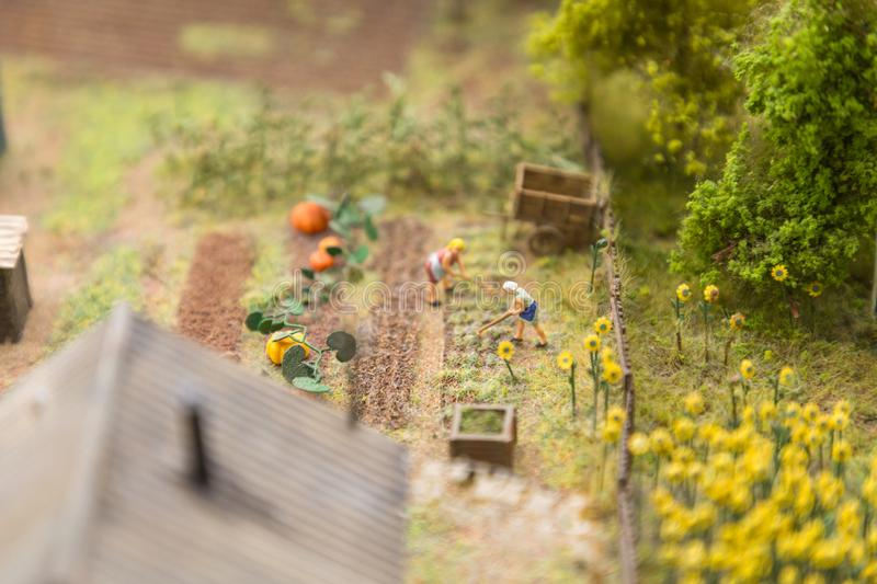 Layout of the city and small figures. Agricultural work on vegetable fields, harvesting royalty free stock photography