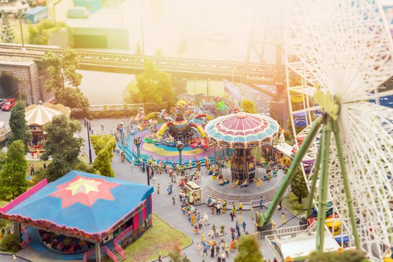 Layout of the city and small figures. View from the height of the amusement Park, festivities.  royalty free stock photos