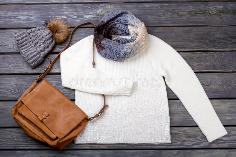 Layout clothing for cold winter. stock image