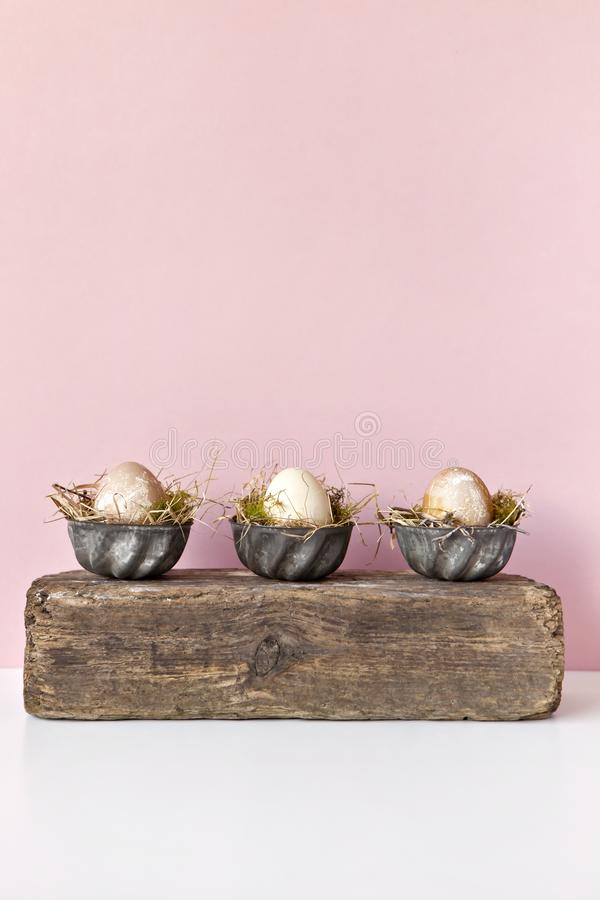 Composed colored eggs in metal forms. stock images