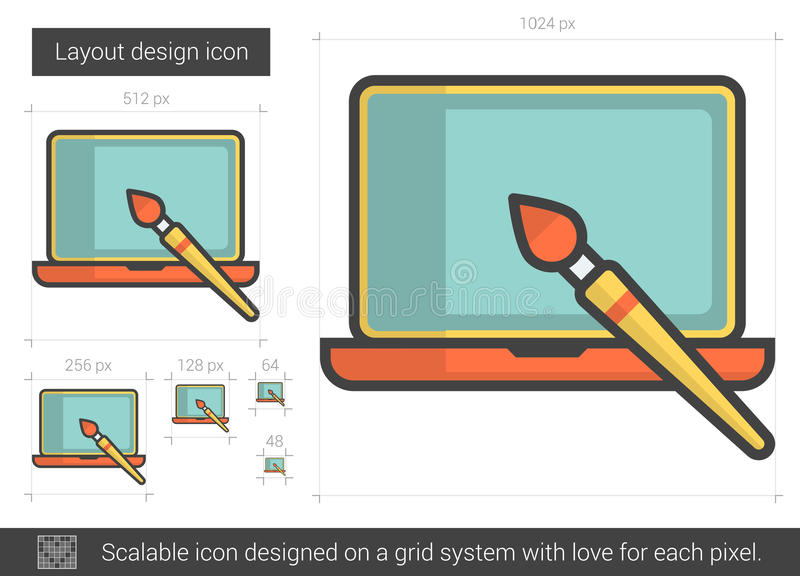 Layout design line icon. Layout design vector line icon isolated on white background. Layout design line icon for infographic, website or app. Scalable icon royalty free illustration