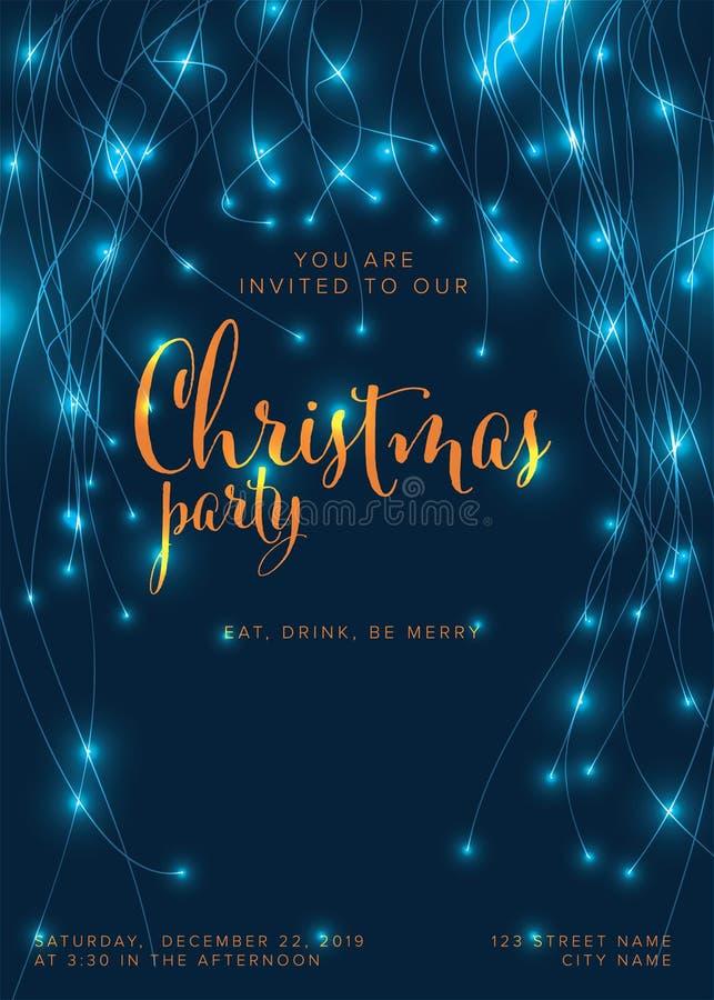 Layout för mall för inbjudan till julfest royaltyfri illustrationer