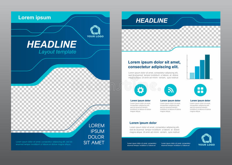 layout flyer template size a4 cover page blue line art