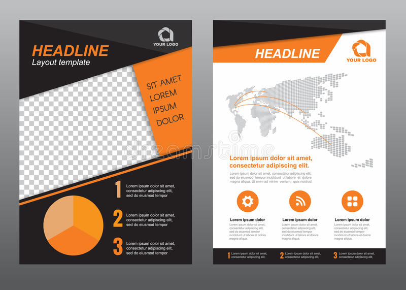 Layout Flyer Template Size A Cover Page Orange Black Tone Vector