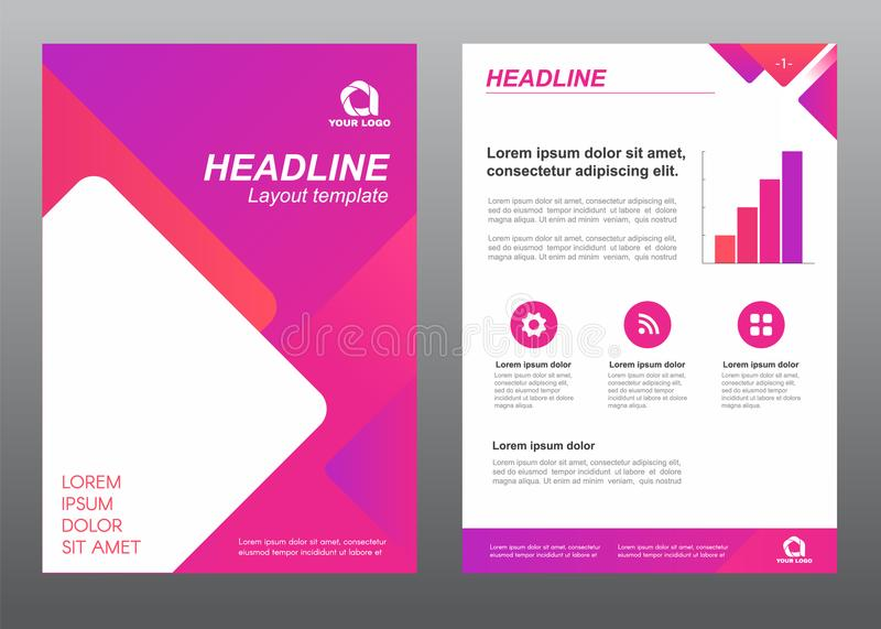 Layout flyer template size A4 cover page with Purple pink tone diamonds rounded corners shape Vector design royalty free illustration