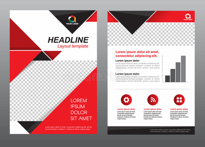 Layout Flyer Template Size A Cover Page Red And Black Tone Vector