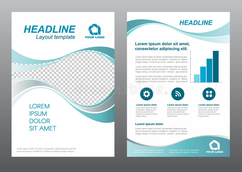 Layout flyer template size A4 cover page Wave Turquoise gray tone Vector design royalty free illustration