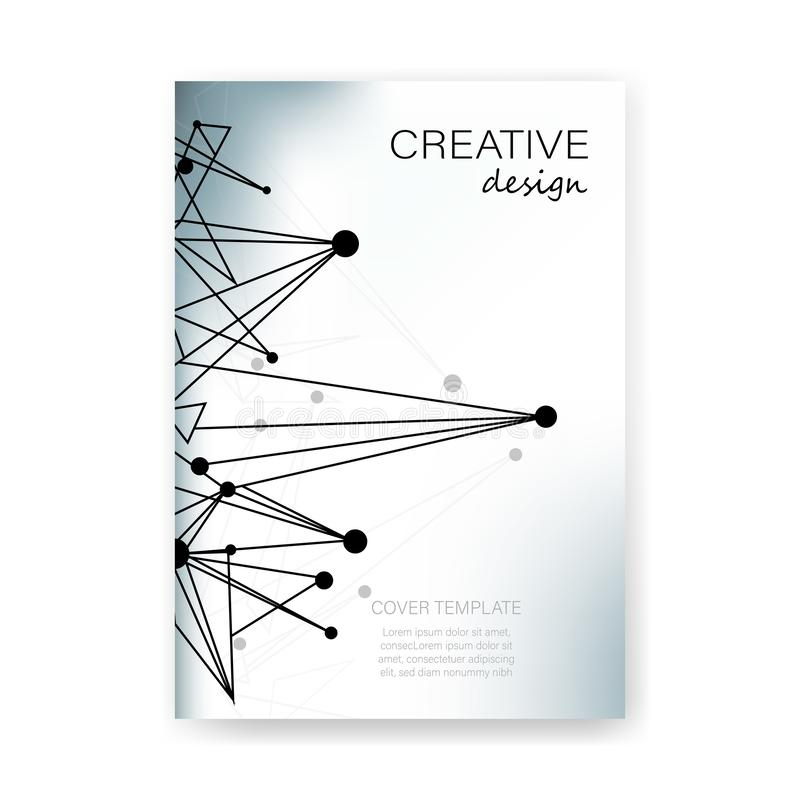 Layout of A4 format cover book template vector background creative design for brochure, flyer and report molecules structure and royalty free illustration