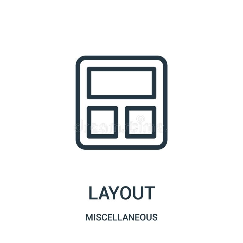layout icon vector from miscellaneous collection. Thin line layout outline icon vector illustration. Linear symbol for use on web royalty free illustration