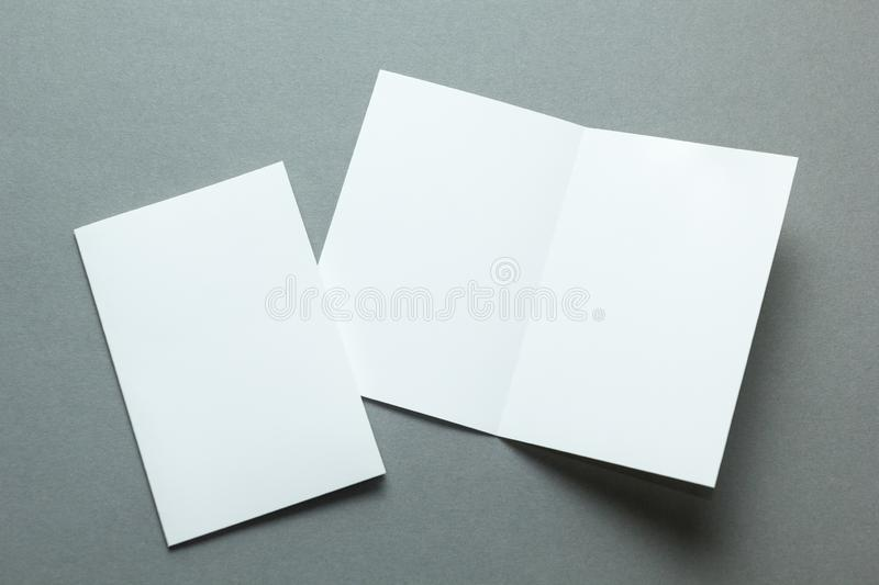A layout for menu or brochures on a gray background.  stock photography