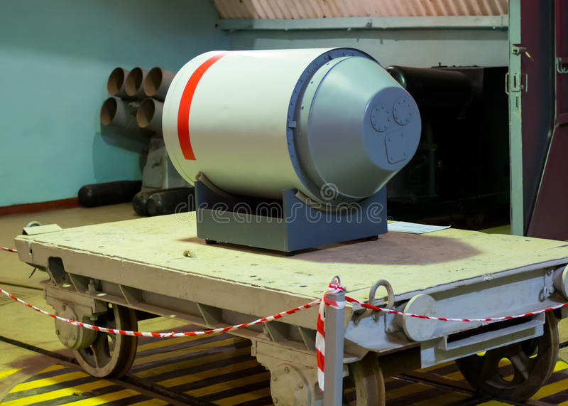 Layout nuclear warhead torpedoes on object 820 RTB: local area nuclear arsenal, an underground museum complex Balaklava. Balaklava, Russia - November 14, 2015 royalty free stock photo