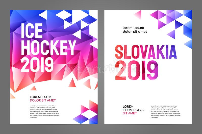 Layout poster template design for sport event 2019. Layout poster template design for sport event, tournament, championship or ice hockey. Slovakia 2019 royalty free illustration