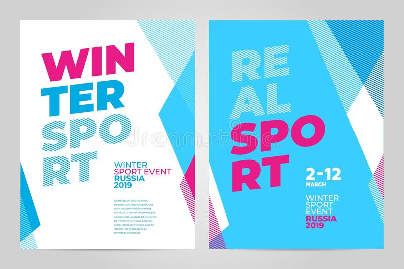 Layout poster template design for winter sport event 2019. Layout poster template design for winter sport event, tournament or championship. 2019 trend royalty free illustration