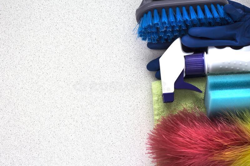 Layout set of tools for cleaning the apartment on a white background with a copy of the space stock photo