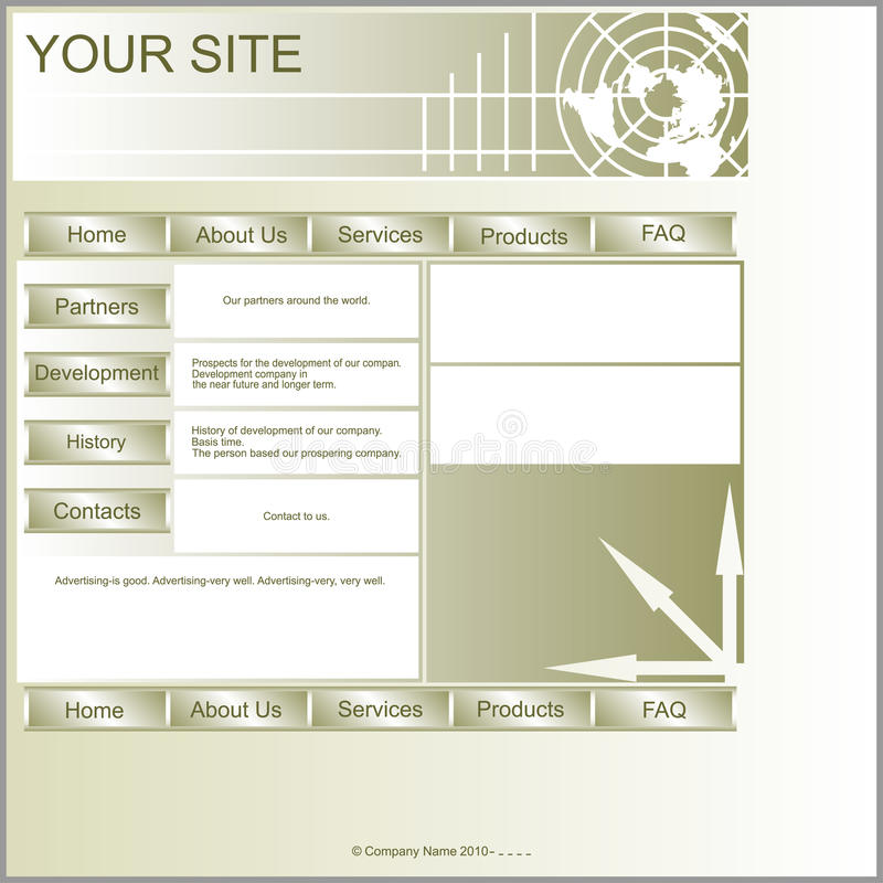 Layout site. Site Layout dark color.Layout is square in shape and ease of processing royalty free illustration