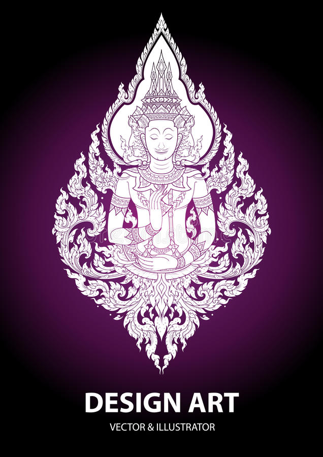 Layout thai buddha outline stroke vector stock illustration
