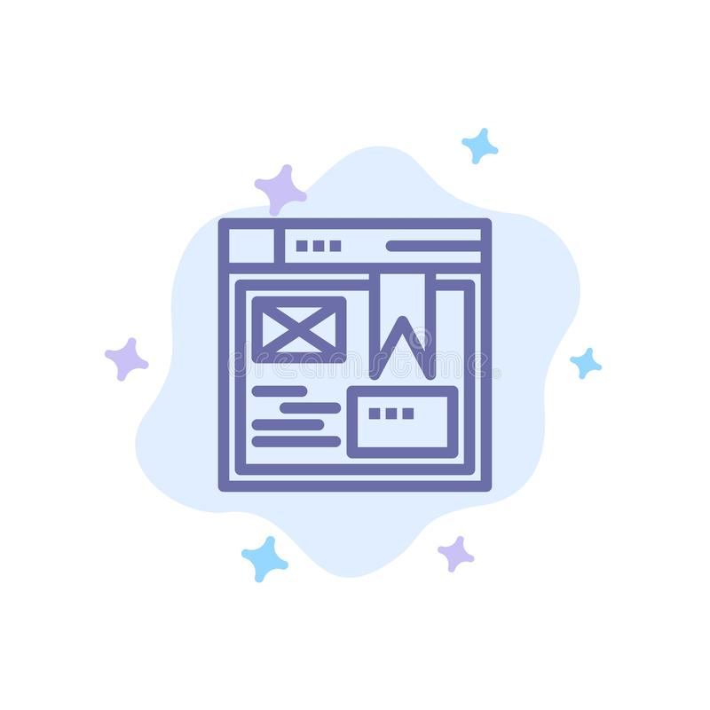Layout, Web, Design, Website Blue Icon on Abstract Cloud Background stock illustration