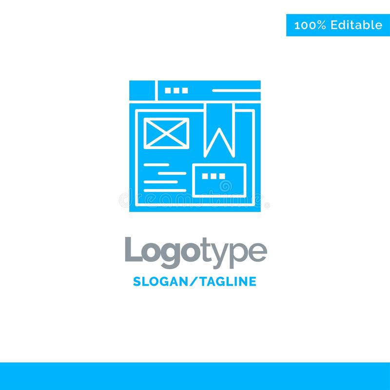Layout, Web, Design, Website Blue Solid Logo Template. Place for Tagline stock illustration