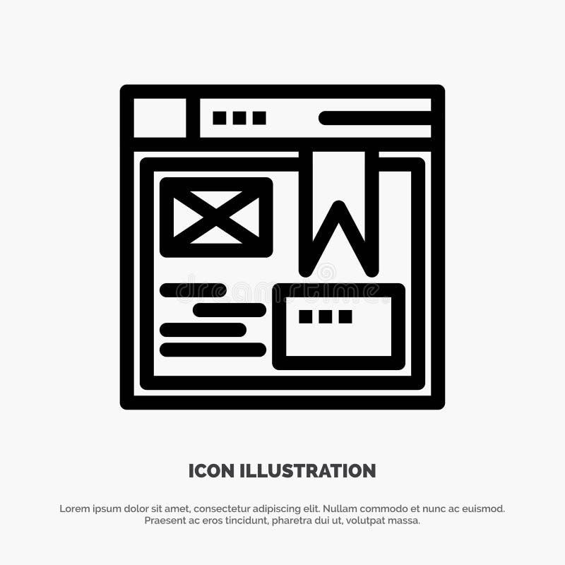 Layout, Web, Design, Website Line Icon Vector royalty free illustration