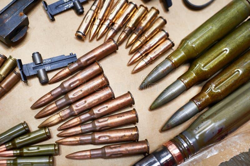 Layouts ammo rifles and machine guns of World War II. Layouts ammo from rifles and machine guns of the Second World War stock photography