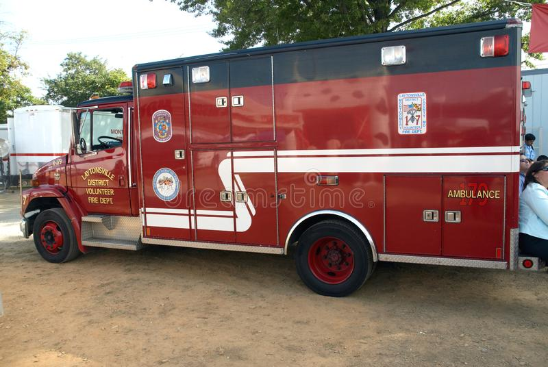 Laytonsville District Volunteer Fire Department ambulance. In Laytoansville, Maryland stock images