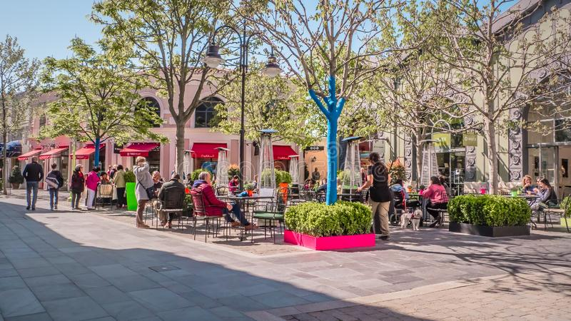 Laz Rozas shopping village near Madrid, Spain. Madrid / Spain - 03 30 2019: Luxury fashion and lifestyle boutiques at Las Rozas village, an open-air shopping stock images