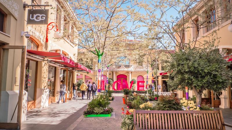 Love letters at Laz Rozas shopping village near Madrid, Spain royalty free stock images