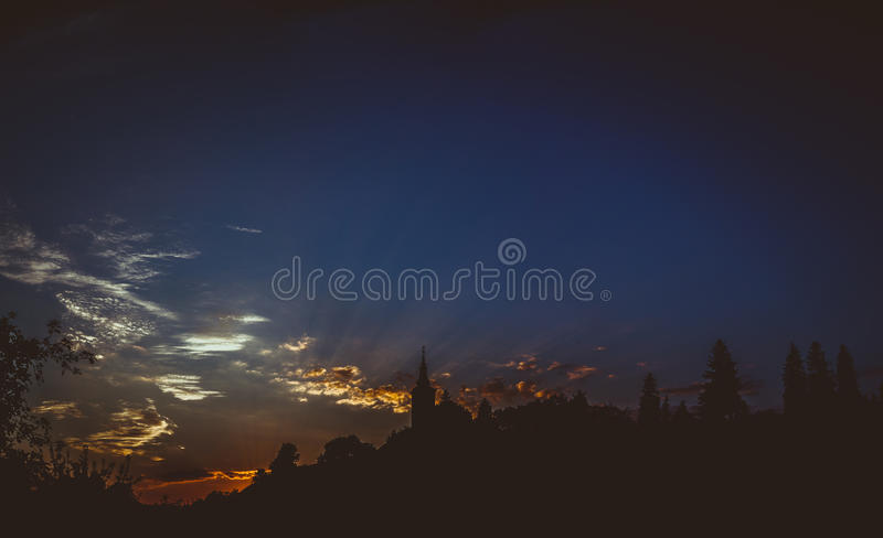 Lazarea Villages Church. In silhouette royalty free stock photos