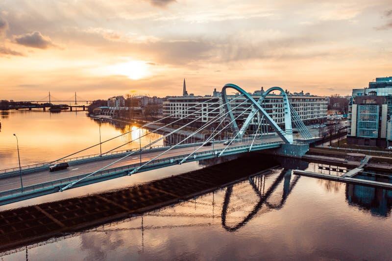 Lazarevsky Bridge in St. Petersburg. Cable-stayed Lazarevsky Bridge in Sant Petersburg a sunset, Russia stock photo