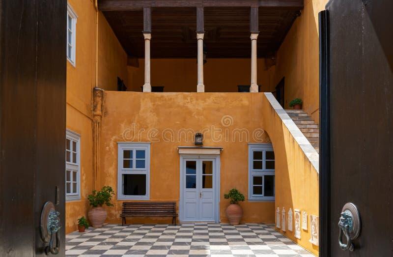Lazaros Kountouriotis Historical Mansion at Hydra island. Argorasonic Greece royalty free stock image