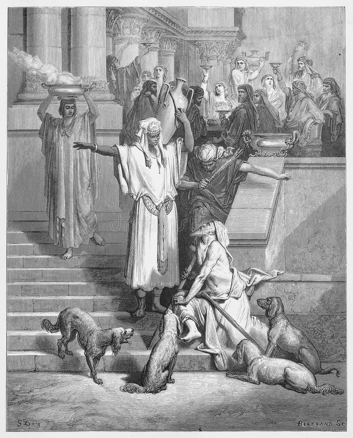 Lazarus am Haus des Reichers stock abbildung