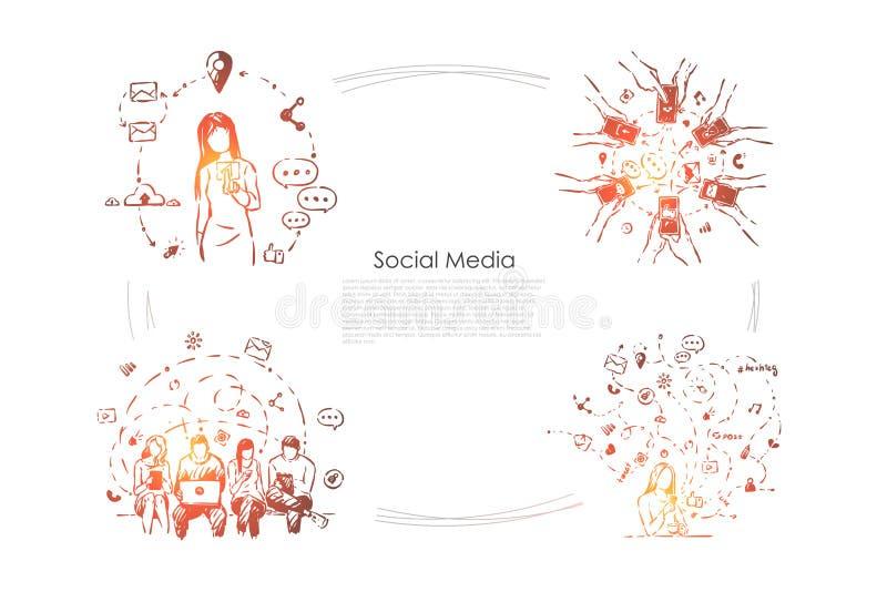 Lazer, homens e mulheres do Internet com smartphones e portáteis, uma comunicação no Cyberspace, bandeira em linha da rede ilustração do vetor