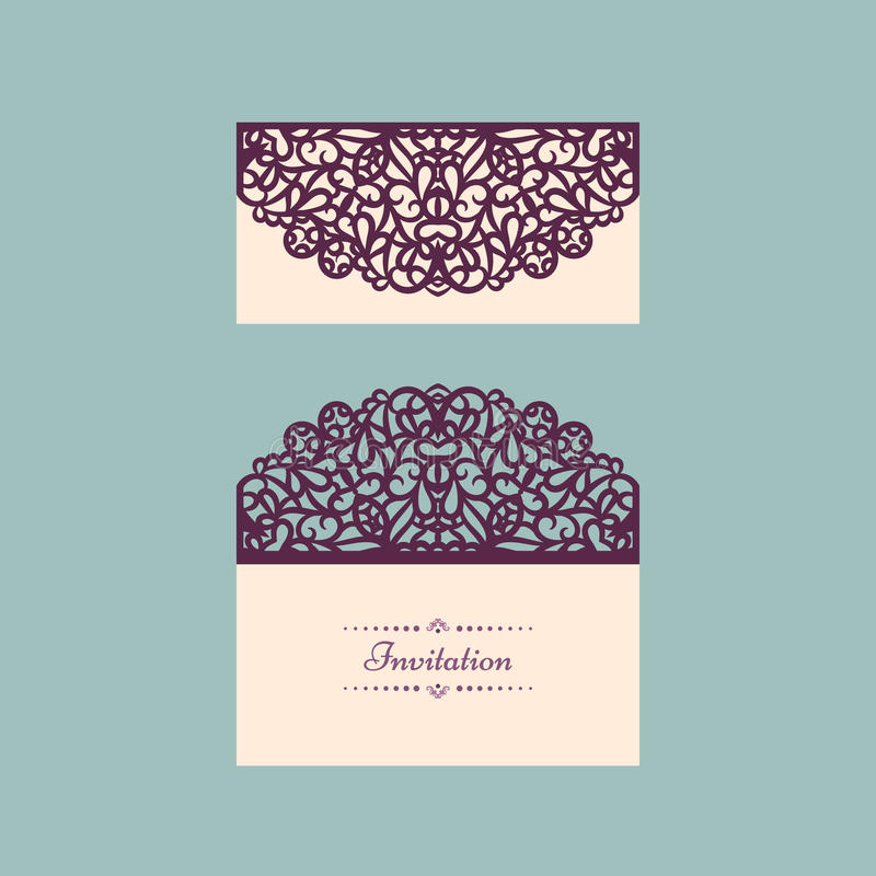 Lazercut vector wedding invitation template wedding invitation download lazercut vector wedding invitation template wedding invitation envelope for laser cutting lace gate stopboris Gallery
