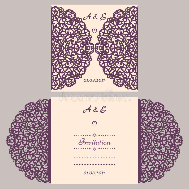 Lazercut vector wedding invitation template. Wedding invitation envelope for laser cutting. Lace gate folds.Lazer cut. Vector royalty free illustration