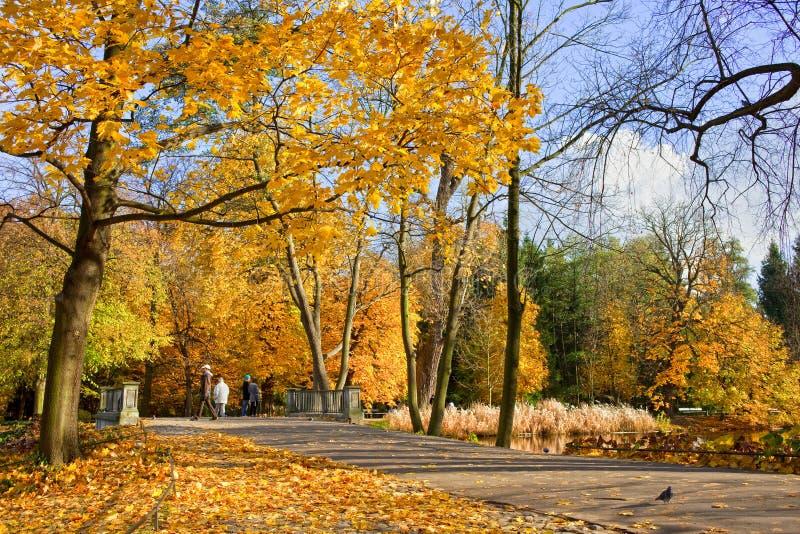 Lazienki Park in Warsaw stock photo