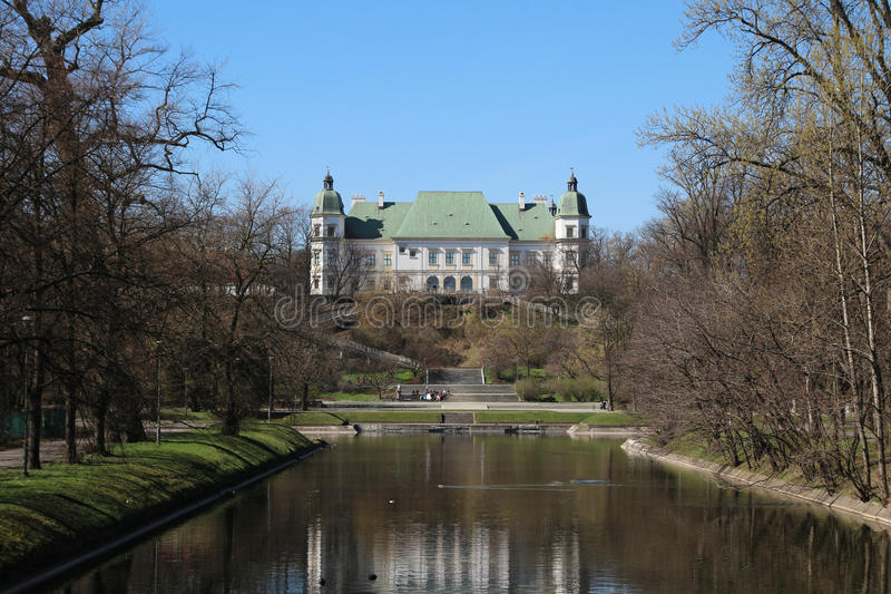 The Lazienki Park, Warsaw, Poland. The Lazienki Palace is also called the Palace on the Water, or Water Palace, and the Palace on the Isle Bath is a Baroque stock photography